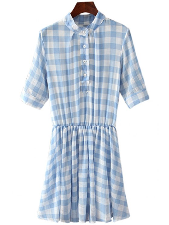 trendy Checked Half Sleeve Dress - BLUE ONE SIZE(FIT SIZE XS TO M)