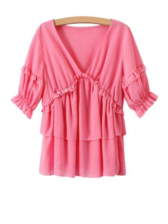 sale Solid Color Flounce Splicing Half Sleeve Blouse - PINK ONE SIZE(FIT SIZE XS TO M)