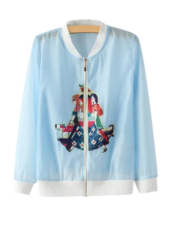 fancy Figure Patch Design See-Through Jacket - BLUE S