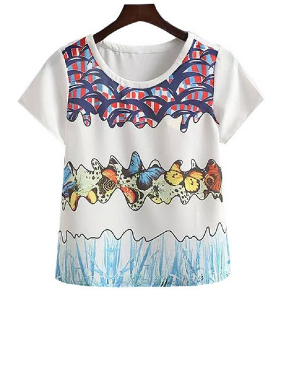 buy Color Block Butterfly Print Short Sleeve T-Shirt - WHITE S
