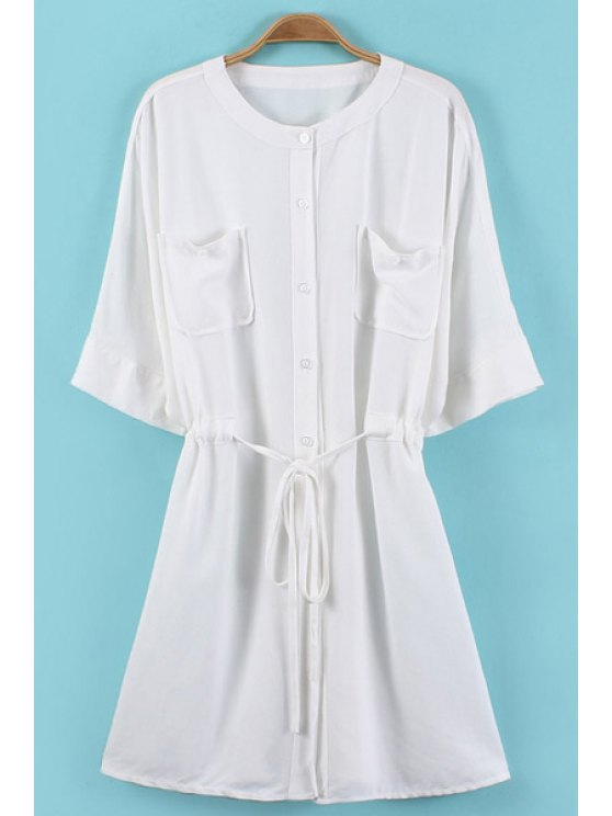ladies Buttons Drawstring Solid Color Pockets Dress - WHITE ONE SIZE(FIT SIZE XS TO M)