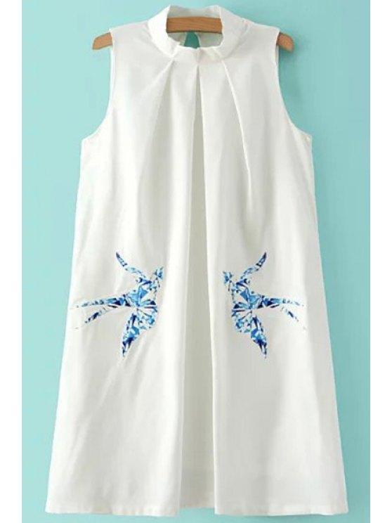 fashion Bird Pattern Stand Neck Sleeveless Dress - WHITE M