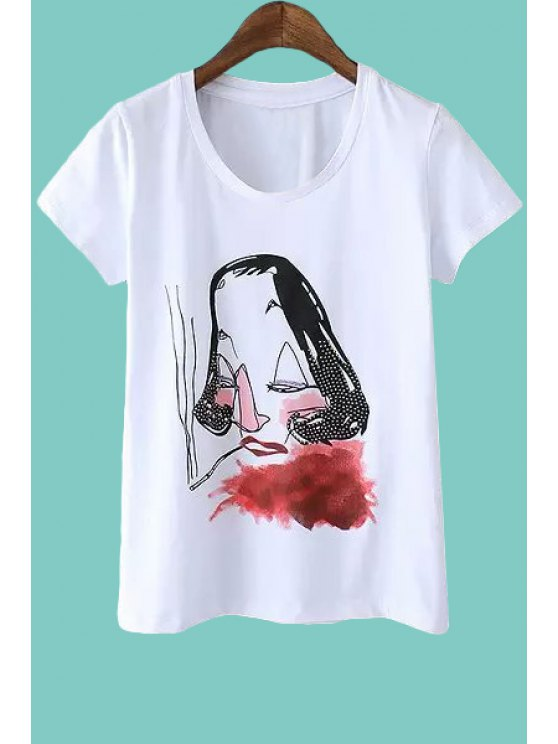 lady Figure Print Rivet Embellished T-Shirt - WHITE S