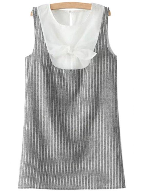 unique Stripe Spliced Sleeveless Bowknot Dress - GRAY S