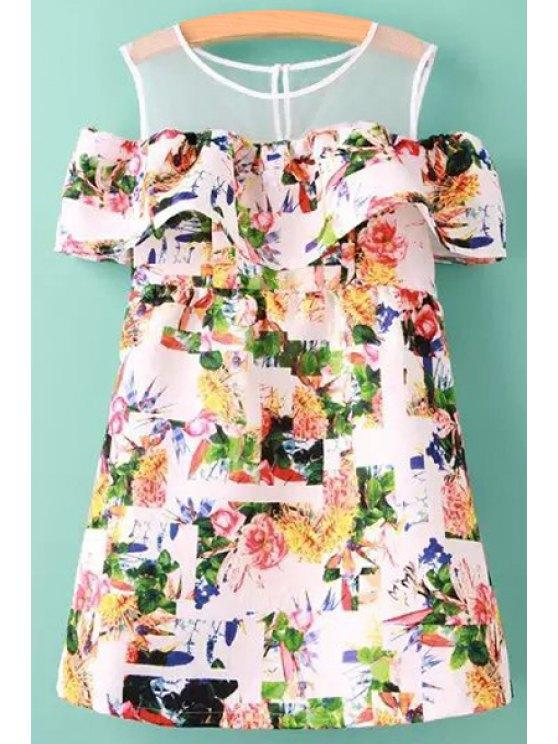 shops Floral Spliced Off-The-Shoulder Dress - COLORMIX S