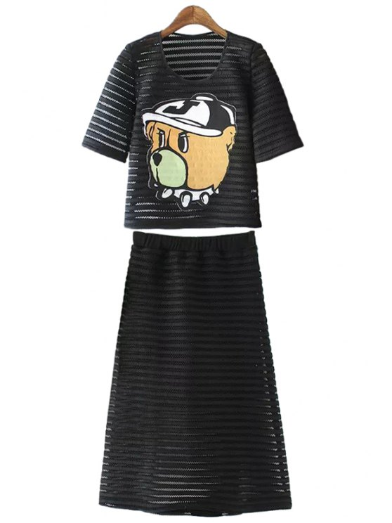 fashion Cartoon Hollow T-Shirt and A-Line Skirt Suit - BLACK S