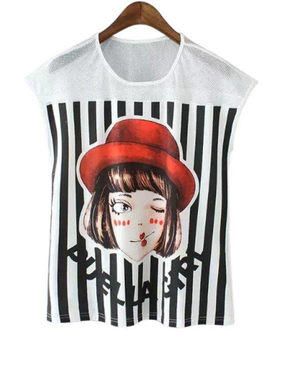 womens Girl Pattern Stripe Spliced T-Shirt - WHITE AND BLACK S
