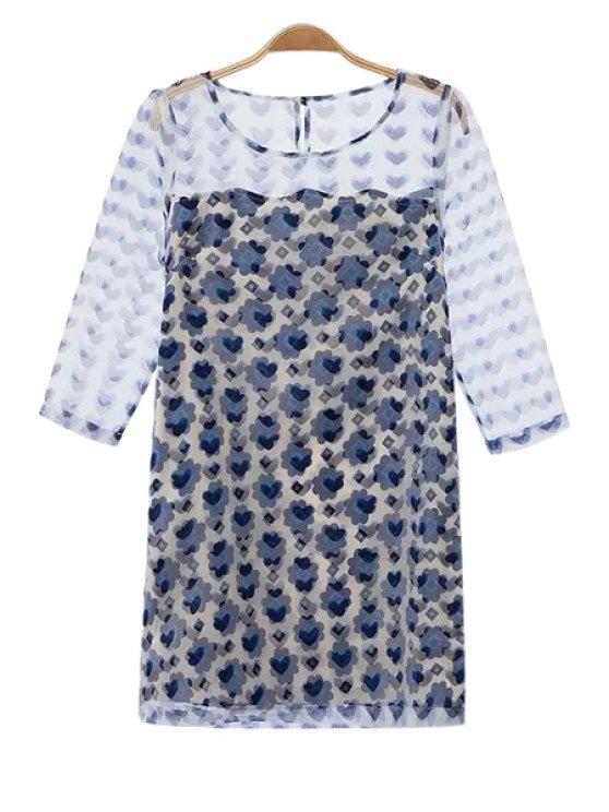 affordable 3/4 Sleeve Print Spliced Dress - DEEP BLUE S