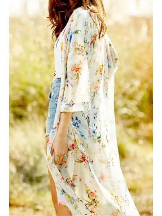 ladies Tiny Floral Print Half Sleeve Kimono - WHITE M