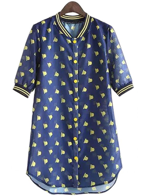 chic Hat Print Short Sleeve Jacket - DEEP BLUE L