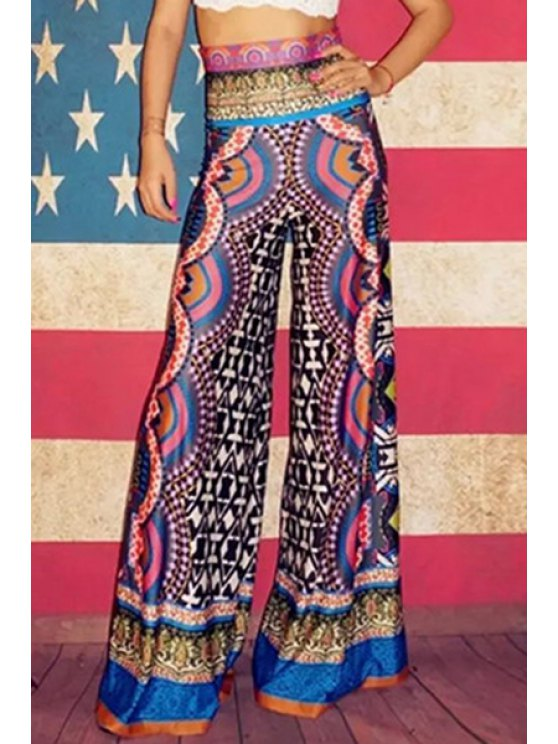 shops Ethnic Style Wide Leg Pants - COLORMIX S