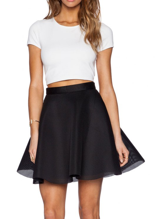 White Short Sleeve T-Shirt And Black A-Line Skirt Suit BLACK ...