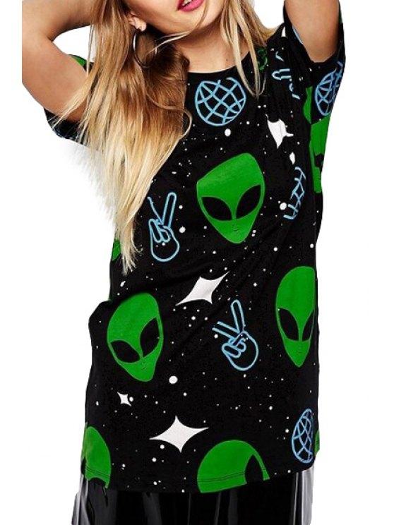 buy Star Finger Print Short Sleeve T-Shirt - BLACK S