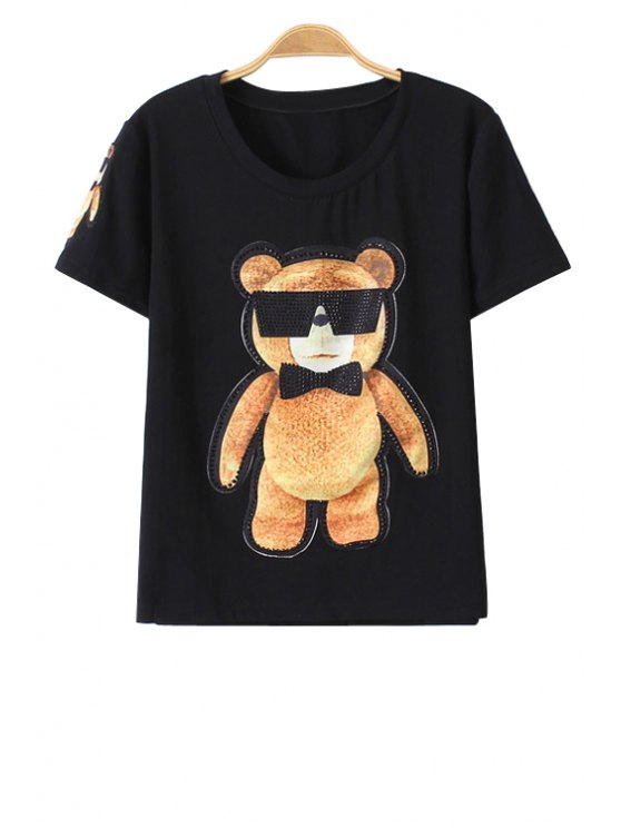 women Bear Cub Print Short Sleeve T-Shirt - BLACK S