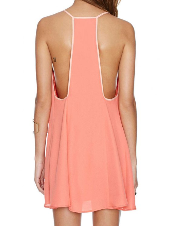 outfit Spaghetti Strap Solid Color Racerback Dress - WATERMELON RED S