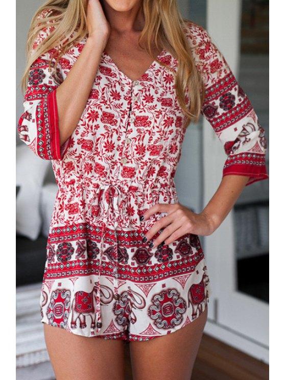 womens Ethnic Print 3/4 Sleeve Romper - RED S