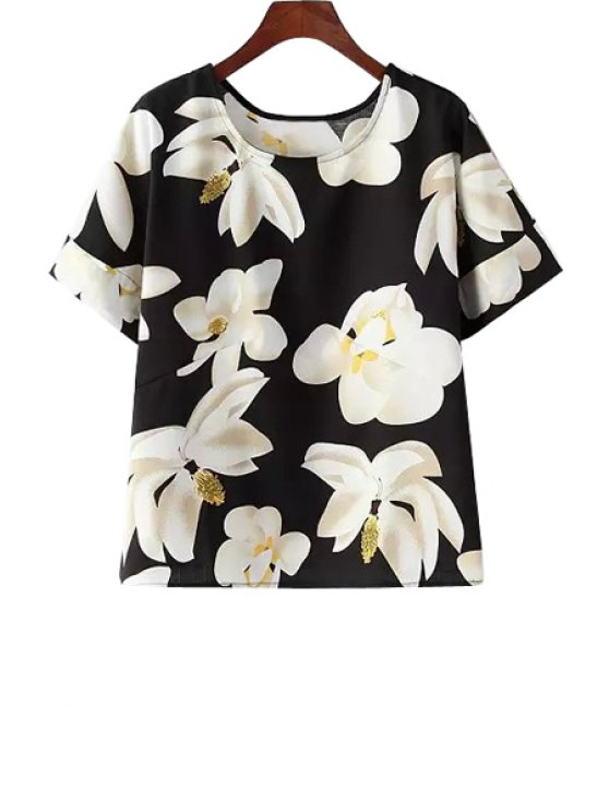 latest Short Sleeve Jewel Neck Floral Print T-Shirt - BLACK ONE SIZE(FIT SIZE XS TO M)