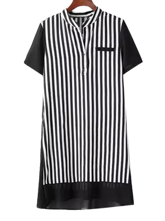 online Stripe Splicing Asymmetrical Short Sleeve Dress - BLACK S
