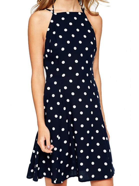 unique Polka Dot Print Halterneck Dress - WHITE AND BLACK S