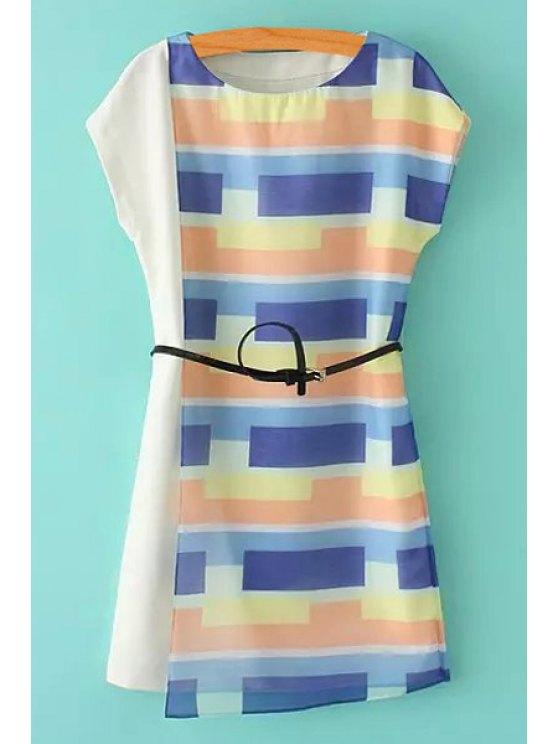 shops Colorful Plaid Splicing Asymetrical Belt Dress - COLORMIX S
