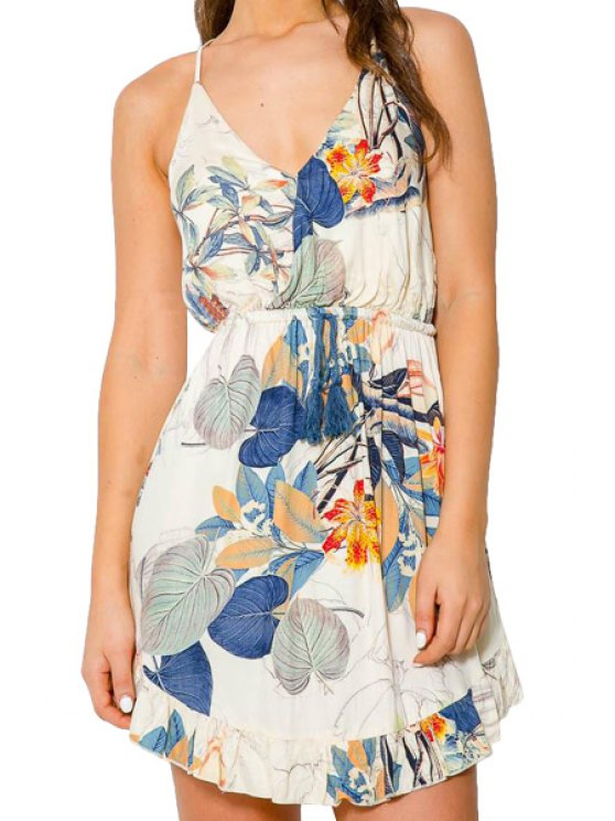 women's Floral Spaghetti Strap Elastic Waist Dress - BLUE AND WHITE S