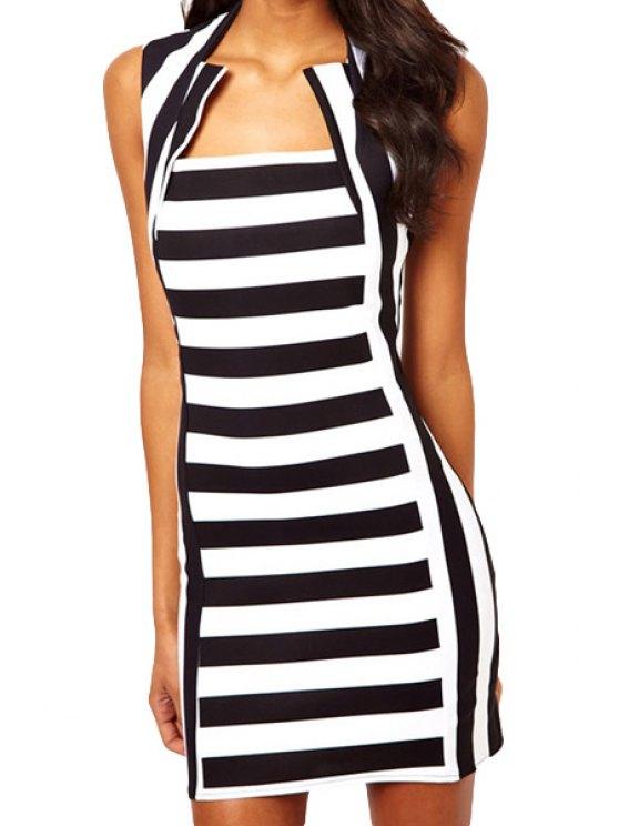 best Stripe Spliced Sleeveless Dress - STRIPE M