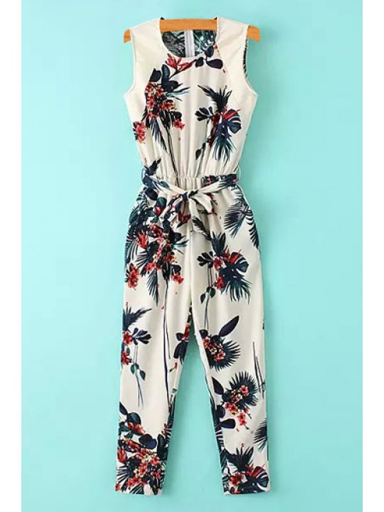 womens Floral Leaves Print Tie-Up Sleeveless Jumpsuit - WHITE S