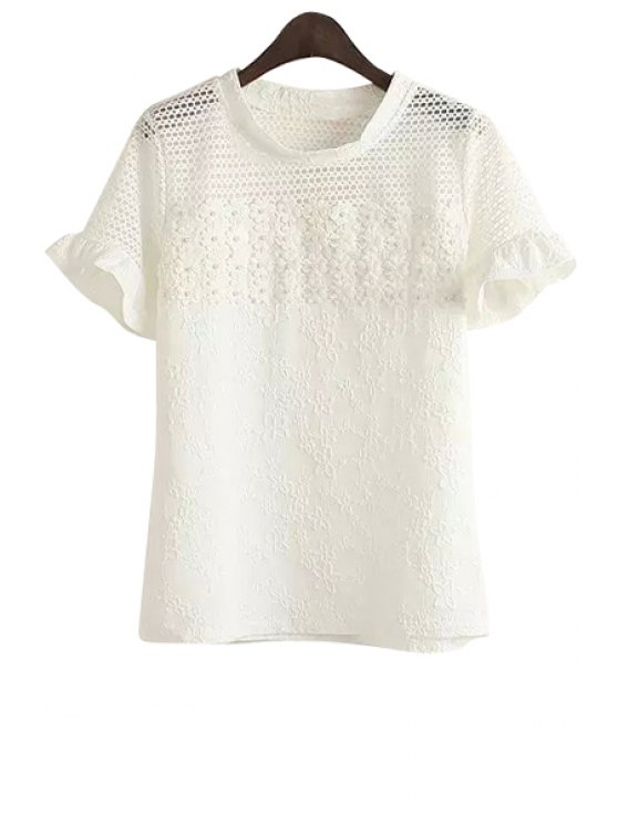 womens Floral Embroidery Beaded T-Shirt - WHITE ONE SIZE(FIT SIZE XS TO M)