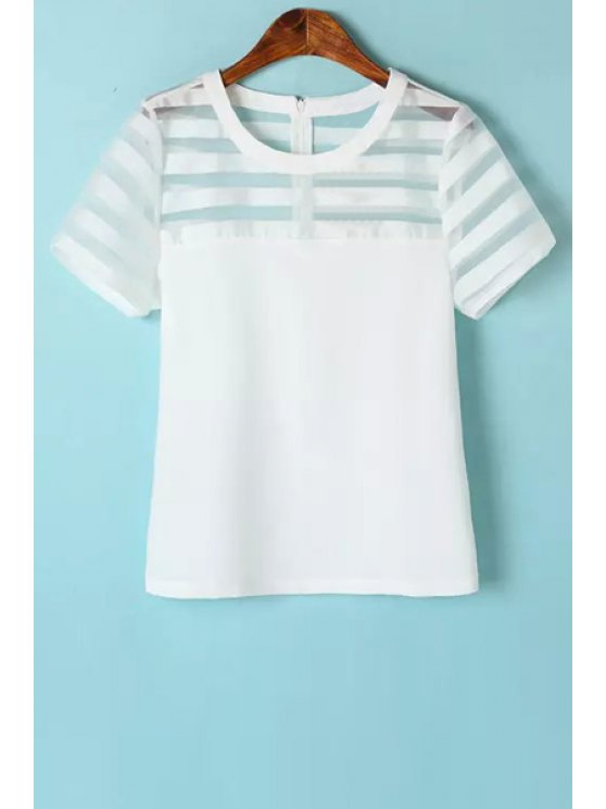 outfit Stripe Voile Spliced Short Sleeve Shirt - WHITE S