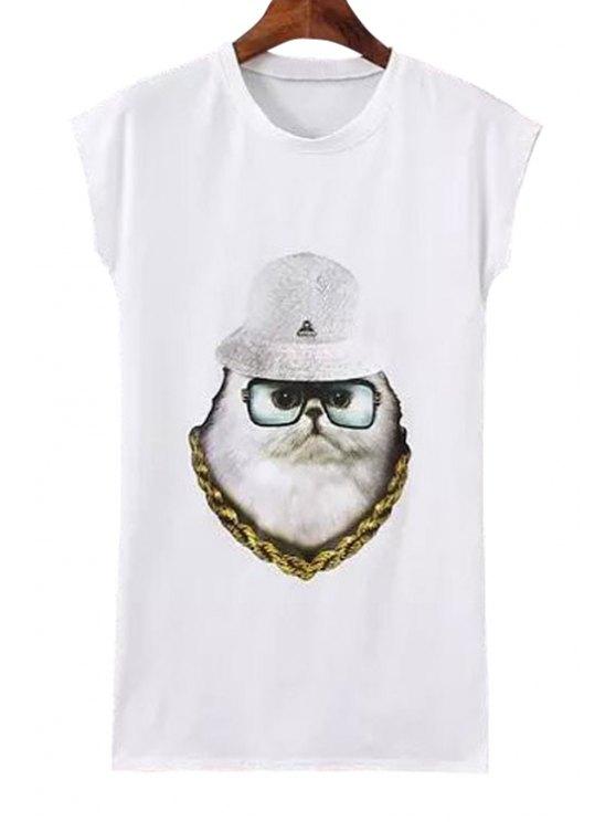 ladies Glasses Kitten Print Short Sleeve T-Shirt - WHITE S