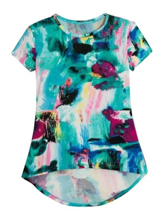 latest Print High-Low Hem Short Sleeve T-Shirt - GREEN S