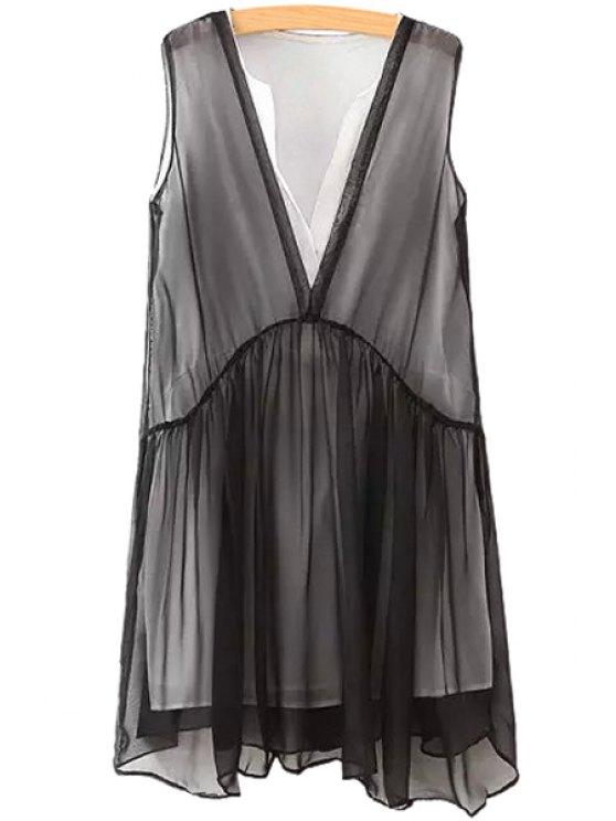 sale V-Neck Ruffle Chiffon Sleeveless Dress - BLACK S