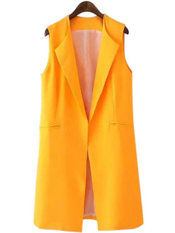 new Turn-Down Collar Yellow Sleeveless Waistcoat - YELLOW S