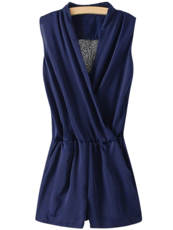 online Solid Color Ruffle Back Lace Splicing Romper - BLUE S