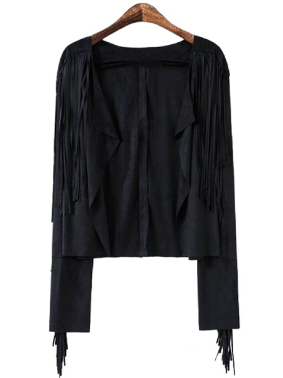 latest Solid Color Tassel Splicing Long Sleeve Coat - BLACK S