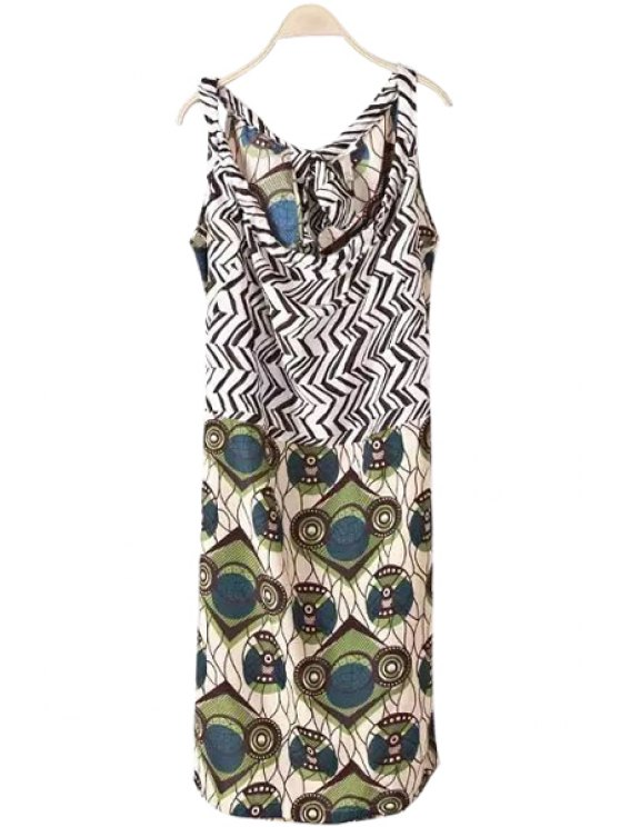 fancy Zig Zag Print Tie-Up Sleeveless Dress - COLORMIX S