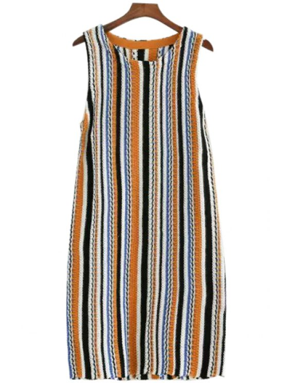 shops Color Block Stripe Sleeveless Knitted Dress - COLORMIX S