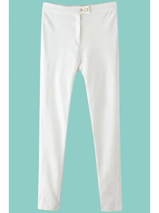 outfits Solid Color Slimming Pencil Pants - WHITE S