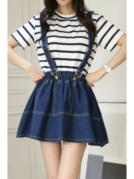 best Straps Solid Color Denim Skirt - DEEP BLUE ONE SIZE(FIT SIZE XS TO M)