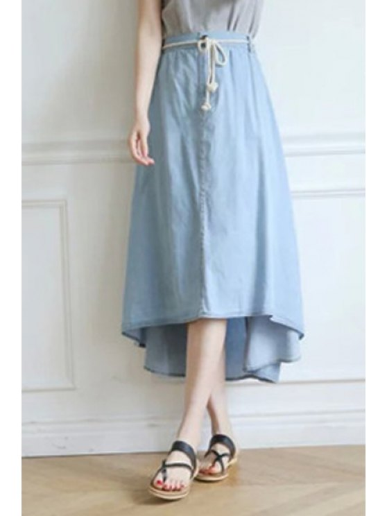 new Solid Color Denim High-Low Hem Skirt - LIGHT BLUE ONE SIZE(FIT SIZE XS TO M)