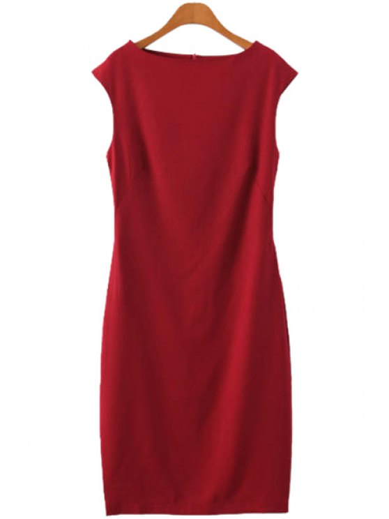 fancy Solid Color Sleeveless Dress - RED S