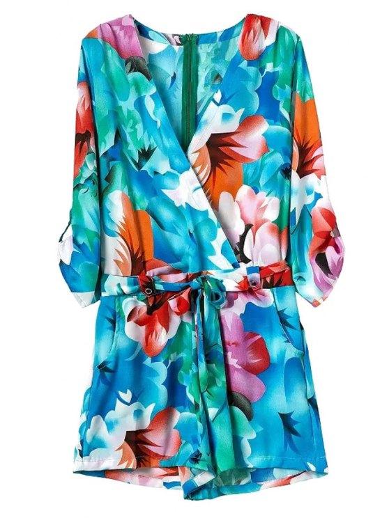 fashion Floral 3/4 Sleeve V-Neck Romper - BLUE S