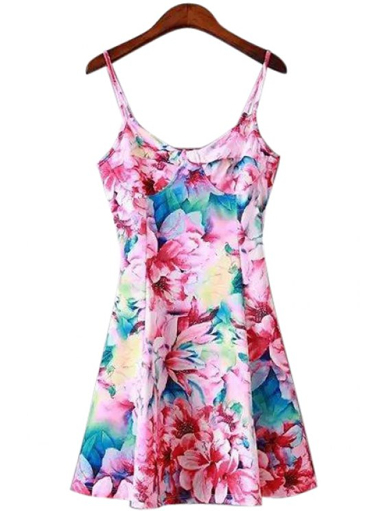 shop Floral Print Sleeveless Spaghetti Strap Dress - AS THE PICTURE S
