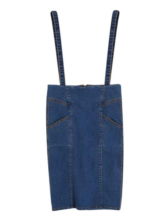 women's Straps High Waisted Denim Skirt - DEEP BLUE S