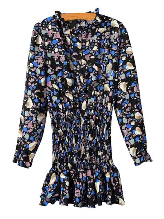 buy Print Long Sleeve Elastic Waist Dress - BLACK ONE SIZE(FIT SIZE XS TO M)