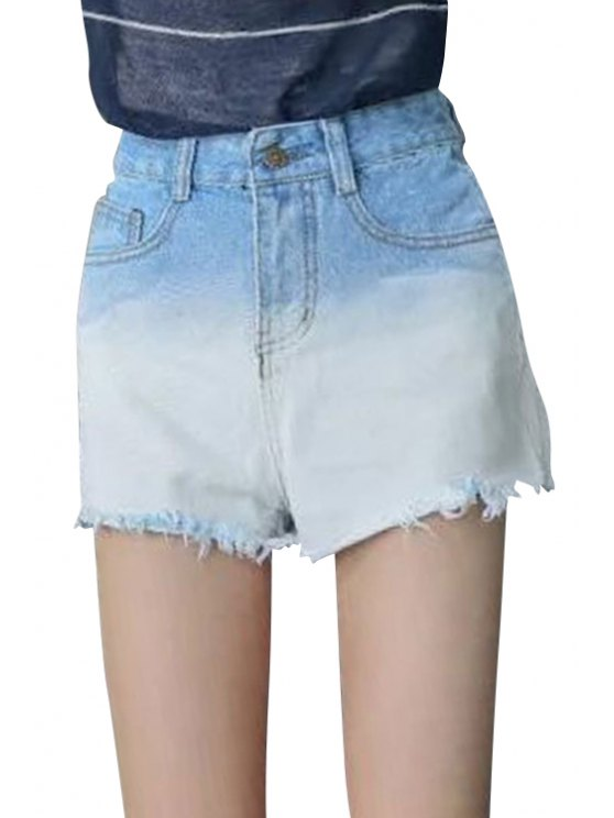 online Color Block High Waisted Denim Shorts - BLUE AND WHITE 28