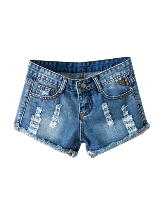 outfits Frayed Denim Low Waisted Shorts - BLUE 27
