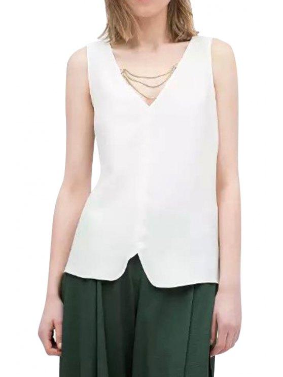 shop White V-Neck Chain Tank Top - WHITE S