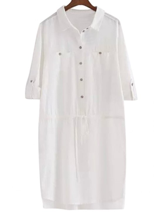 women White Linen Long Sleeve Shirt - WHITE S