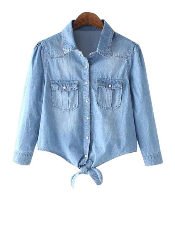 lady Solid Color Long Sleeves Denim Shirt - LIGHT BLUE S